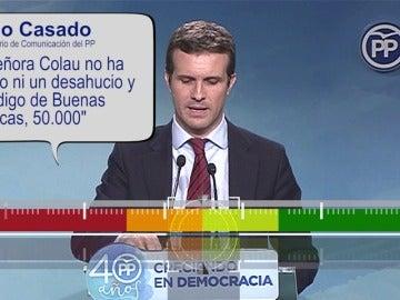 """Pablo Casado: """"Colau no ha parado ni un desahucio y el Código de Buenas Prácticas ha parado 50.000 en toda España"""""""
