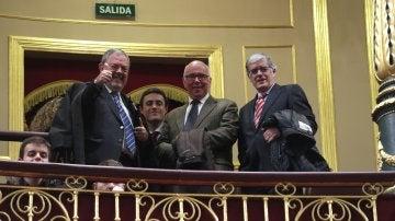 El consejero de Economía y Hacienda del Gobierno Vasco, Pedro Azpiazu, en la tribuna de invitados del Congreso
