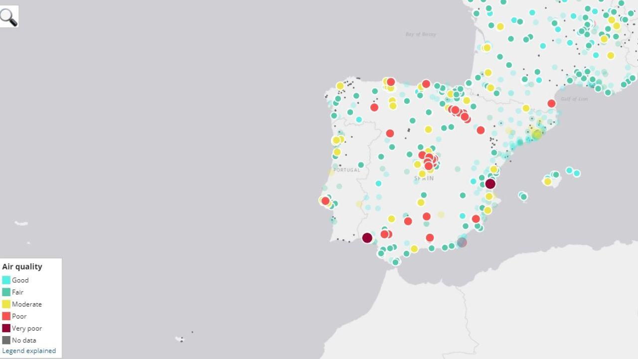 Mapa interactivo sobre la contaminación del aire en España