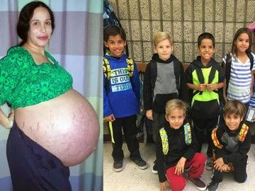 Nadya Suleman durante su embarazo y al lado sus hijos en el colegio