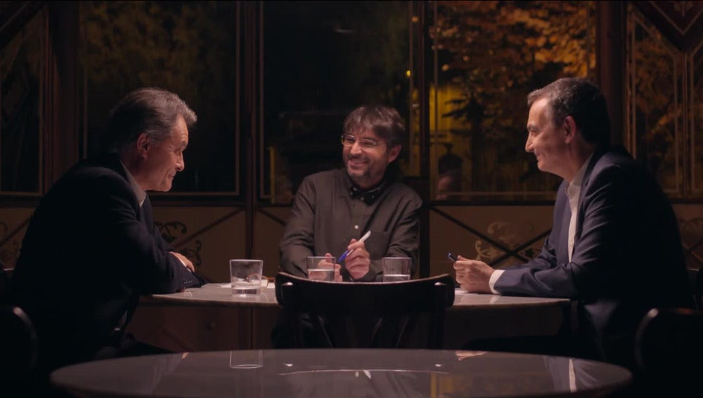 Jordi Évole modera el primer cara a cara en Salvados entre el expresident de la Generalitat, Artur Mas, y el expresidente del Gobierno, José Luis Rodríguez Zapatero
