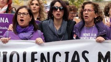 Juana Rivas en la manifestación contra la Violencia de Género