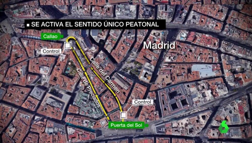 Mapa Puerta Del Sol.Madrid Estrena El Sistema De Calles Peatonales En Un Unico Sentido Para Evitar Aglomeraciones Durante La Navidad