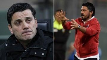 Montella (izquierda) ya no es entrenador del Milan; le sustituye Gattuso (derecha)