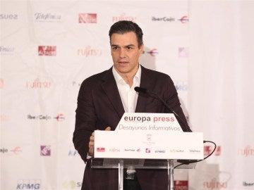 Pedro Sánchez, en los desayunos informativos de Europa Press