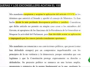 """Oriol Junqueras insiste en que acepta el 155 y promete al Supremo actuar desde """"el diálogo"""""""