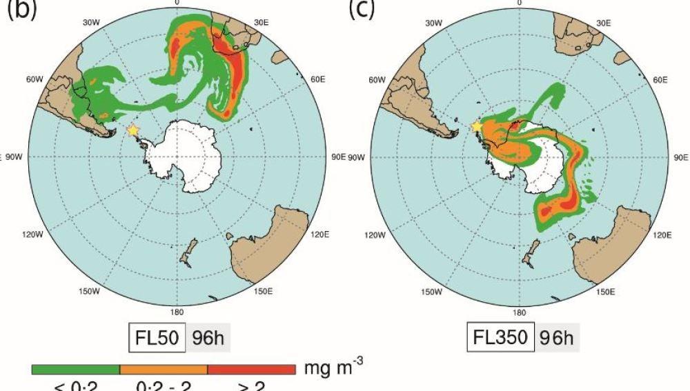 Las cenizas de los volcanes de la Antartida podrian afectar al trafico aereo
