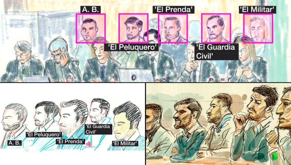Los retratos de La Manada en el juicio por violación múltiple en San Fermín
