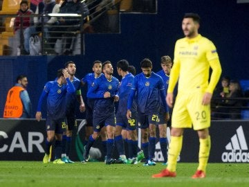El Maccabi celebra su gol ante el Villarreal