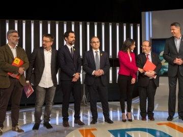 Los candidatos a las elecciones catalanas del 21D en el debate a siete