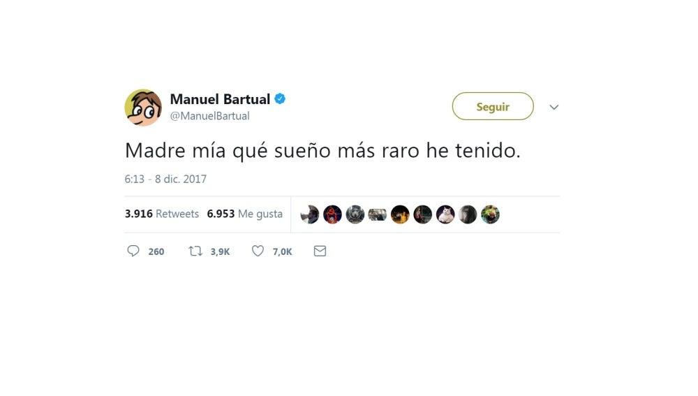 Mensaje de Twitter de Manuel Bartual