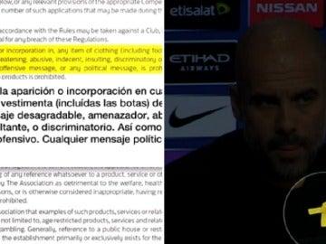 ¿Qué dicen la Premier y la UEFA sobre el lazo amarillo de Guardiola?