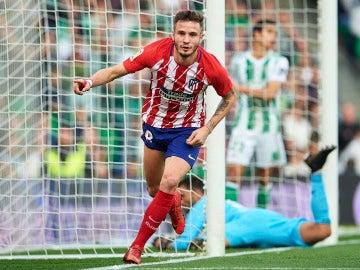 Saúl celebra su gol con el Atlético de Madrid