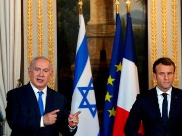Netanyahu y Macron en una reunión en Francia