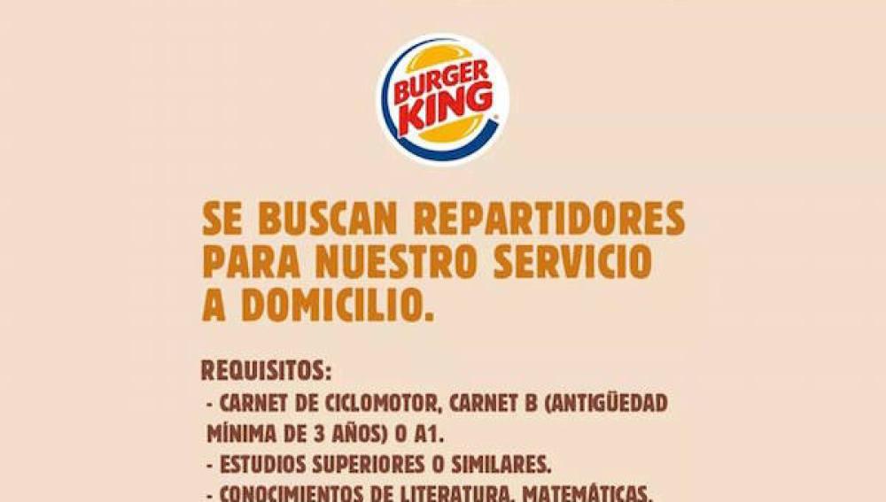 Anuncio de Burger King para contratar repartidores.