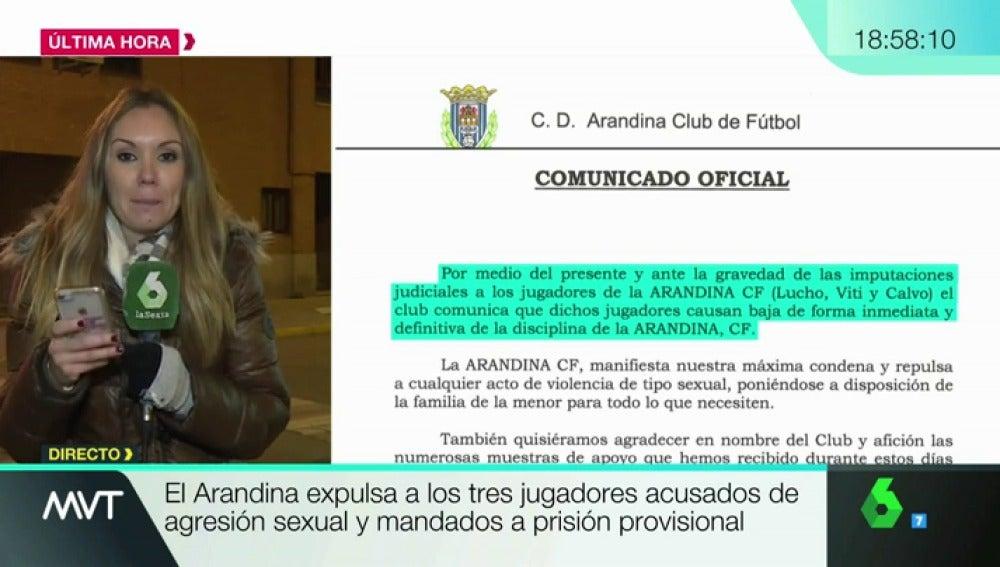 La Arandina expulsa a los tres jugadores acusados de un delito de abuso sexual