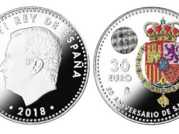 Moneda para conmemorar el aniversario del rey Felipe VI