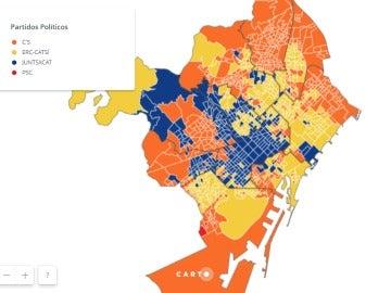Mapa de Barcelona según los resultados del 21D