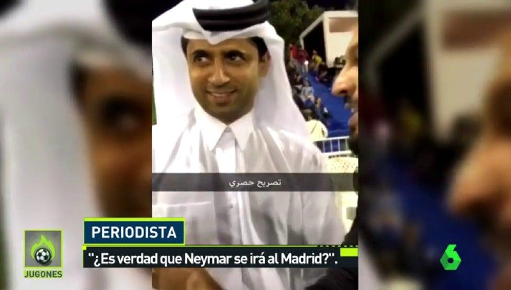 """El jeque del PSG, tajante sobre el futuro de Neymar: """"¿Es verdad que se irá al Madrid?"""""""