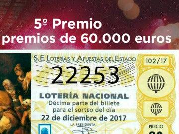 22253, octavo quinto premio del Sorteo de Lotería de Navidad