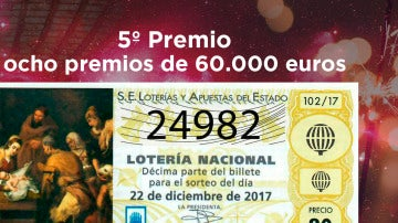 24982, séptimo quinto premio de la Lotería de Navidad