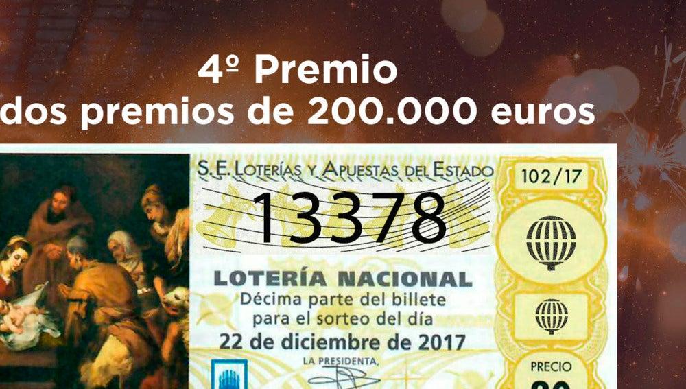 13378, cuarto premio de la Lotería