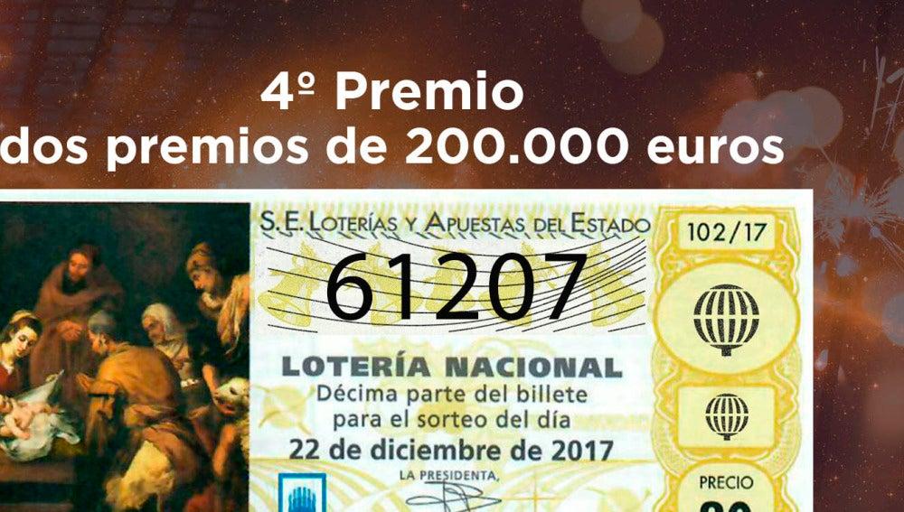 61.207, segundo cuarto premio del sorteo de Lotería de Navidad de 2017; cae  íntegro en Candás, Asturias