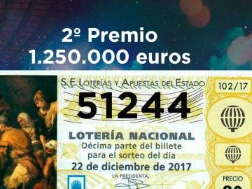51.244, segundo premio del sorteo de Lotería de Navidad