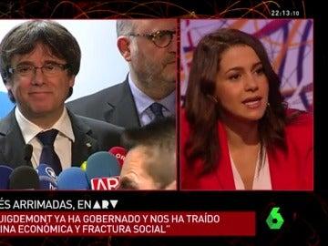 """El mensaje de Arrimadas a los independentistas: """"Les prometieron una república que no existe, yo no les mentiré"""""""