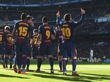 Leo Messi celebra su gol en el Santiago Bernabéu