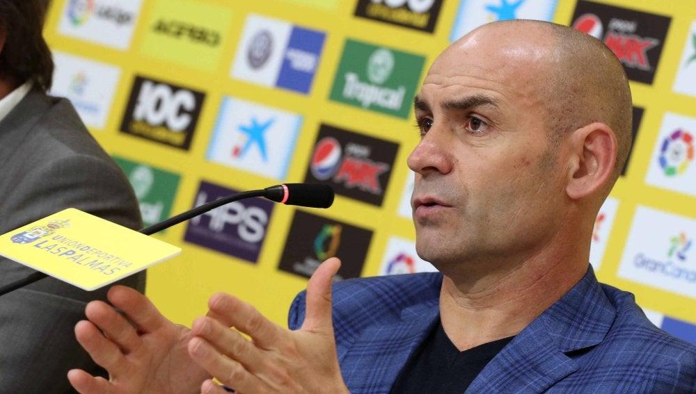 Paco Jémez, durante su presentación con Las Palmas