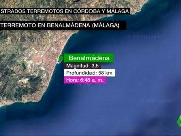 Se registran dos terremotos en Baena (Córdoba) y Benalmádena (Málaga) de magnitud 3,8 y 3,5