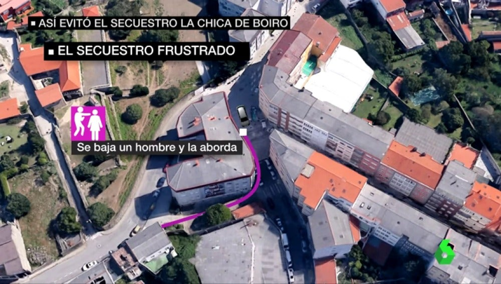 Lugar en el que se produjo el intento de secuestro en Boiro