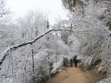 Paseo del Huécar de Cuenca nevado