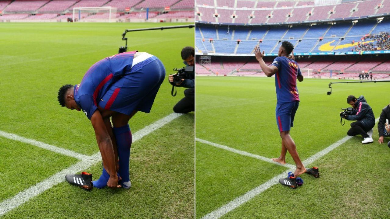 Yerry Mina cumple con su ritual  pisó descalzo el césped del Camp Nou  06836238dff