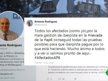 Un tuit de uno de los afectados por el colapso en el AP-6