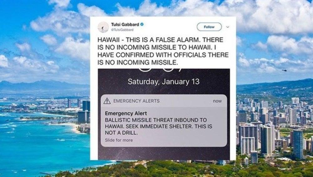Alerta enviada por las autoridades de Hawái