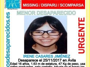Cartel de búsqueda de Irene CAsares, desaparecida en Ávila