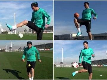 Sergio Ramos demuestra su habilidad en Valdebebas