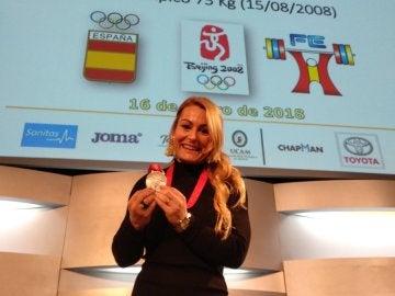 Lydia Valentín, con la medalla de plata de los Juegos Olímpicos de Pekín