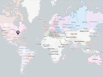 Mapa de las canciones más escuchadas en el mundo
