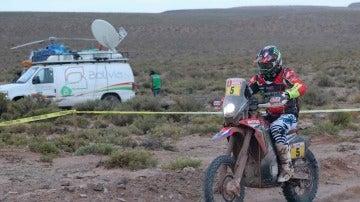 Joan Barreda, durante la disputa de la etapa en el Dakar