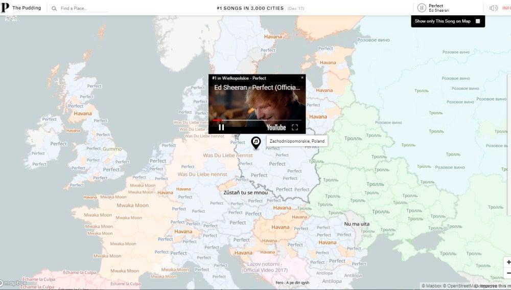 Mapa interactivo de las canciones más escuchadas del mundo