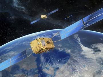 Fotografía facilitada por la Agencia Espacial Europea (ESA) del sistema de navegación por satélite Galileo.