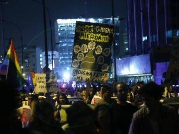Marcha en contra del indulto a Fujimori