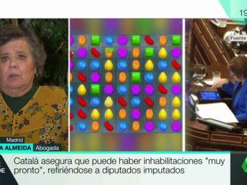 """Cristina Almeida, sobre los sms de Puigdemont: """"Es como cuando pillaron a Villalobos jugando al Candy Crush"""""""