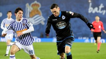 Lucas Pérez, durante el partido contra la Real Sociedad