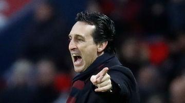 Unai Emery, durante un partido del PSG