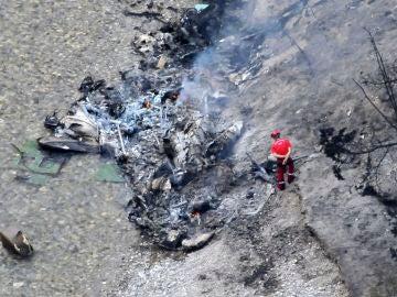 Imagen del accidente entre dos helicópteros militares