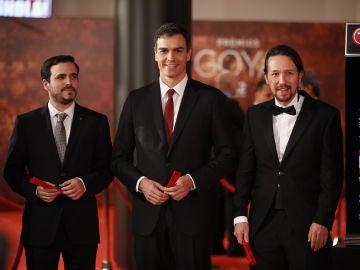 Los políticos Pedro Sánchez, Alberto Garzón y Pablo Iglesias